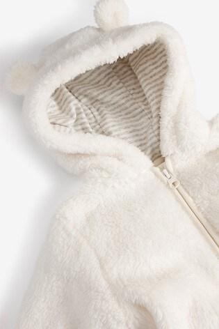 Ecru Cosy Fleece Bear Pramsuit (0mths-2yrs)