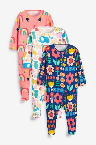 Bright Character 3 Pack Printed Sleepsuits (0-2yrs)