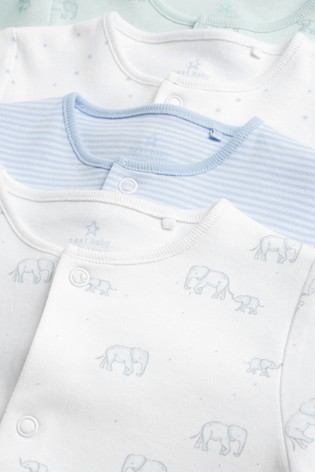 Pale Blue 4 Pack Cotton Elephant Sleepsuits (0-2yrs)