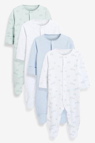Pale Blue 4 Pack Organic Cotton Elephant Sleepsuits (0-2yrs)