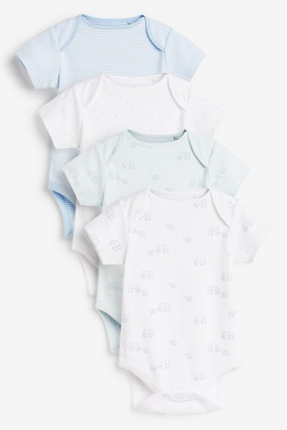 Pale Blue 4 Pack Cotton Elephant Short Sleeve Bodysuits (0mths-3yrs)