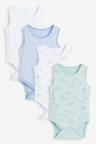 Pale Blue 4 Pack Organic Cotton Elephant Vest Bodysuits (0mths-3yrs)