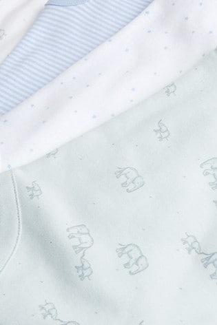 Pale Blue 4 Pack Cotton Elephant Vest Bodysuits (0mths-3yrs)