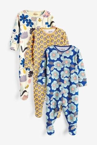 Ochre Geo Floral 3 Pack Printed Sleepsuits (0-2yrs)
