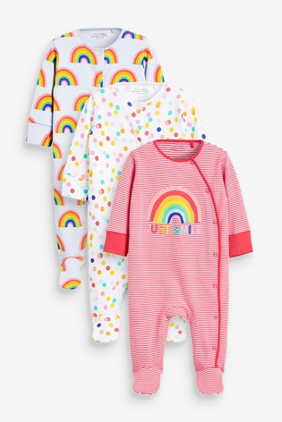 Red Rainbow 3 Pack Appliqué Sleepsuits (0-2yrs)
