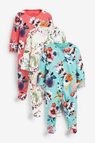 Teal 3 Pack Floral Sleepsuits (0-2yrs)