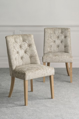 Set of 2 Wolton Button Dining Chairs With Natural Legs