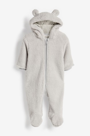Grey Cosy Fleece Bear Pramsuit (0mths-2yrs)