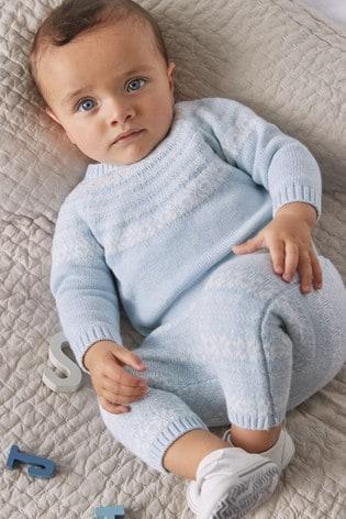 Blue 2 Piece Fairisle Pattern Knitted Jumper And Leggings Set (0mths-2yrs)