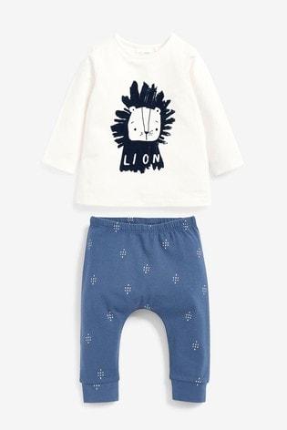 Navy/White Organic Cotton Lion T-Shirt And Leggings Set (0mths-3yrs)