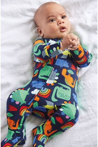 Multi Bright Dinosaur Zip Sleepsuit (0mths-2yrs)