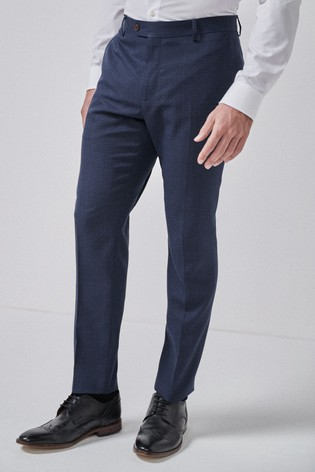 Navy/Black Slim Fit Check Suit: Trousers