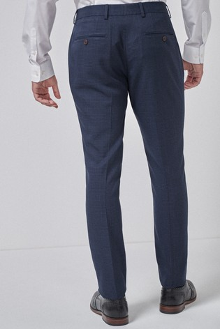 Navy/Black Slim Fit Check Suit: Trousers