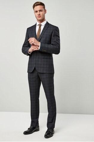 Blue/Tan Slim Fit Check Suit: Jacket