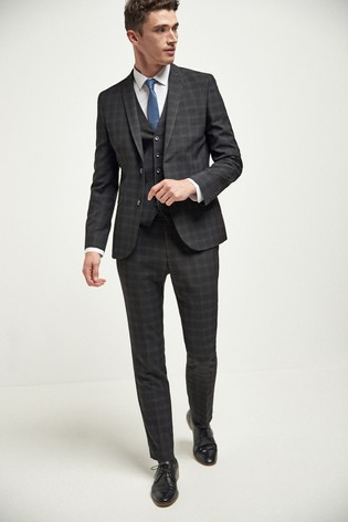 Black Skinny Fit Check Suit: Jacket