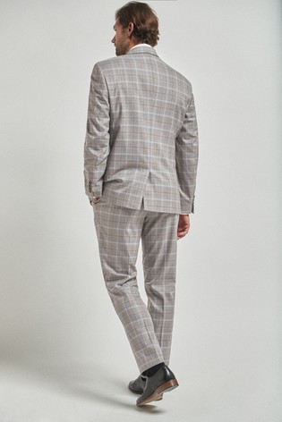 Light Grey/Tan Regular Fit Check Suit: Jacket