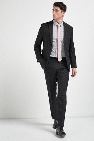 Black Regular Fit Check Suit: Jacket
