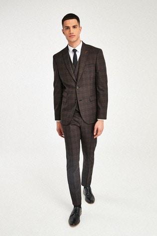 Brown/Orange Jacket Check Slim Fit Suit