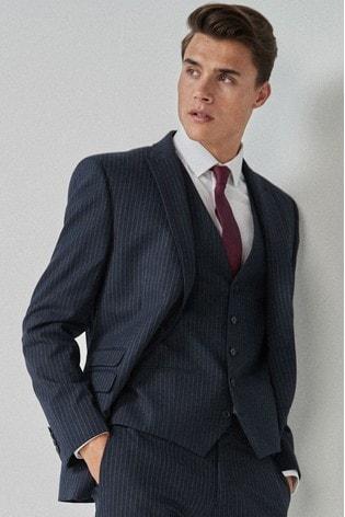 Blue Slim Fit Stripe Suit: Jacket
