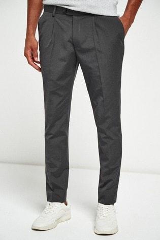 Charcoal Fashion Pleat Fit Suit: Trousers