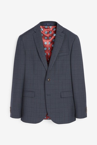 Blue Jacket Signature Bold Check Slim Fit Suit