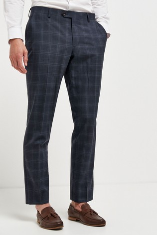 Navy Tailored Fit Slim Fit Signature Check Suit: Trousers