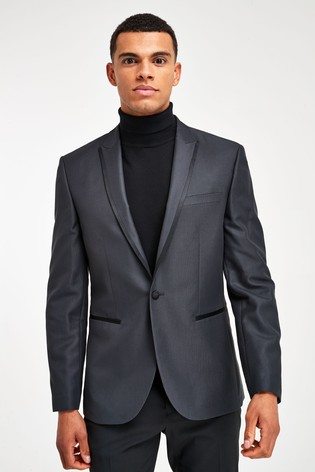Grey Slim Fit Tuxedo Suit: Jacket