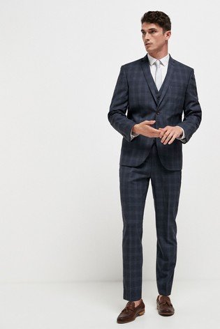 Navy Tailored Fit Slim Fit Signature Check Suit: Jacket