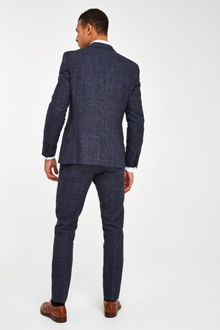 Blue Linen Jacket Slim Fit Signature Check Suit: Jacket