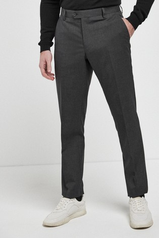Charcoal Tailored Fit Wool Mix Textured Suit: Trousers