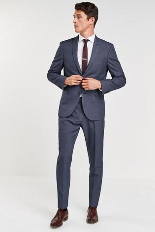 Light Blue Slim Fit Puppytooth Suit: Jacket