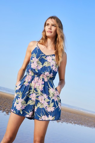 Purple Floral Strappy Playsuit