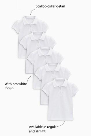 White 5 Pack Short Sleeve Polo Shirts (3-16yrs)