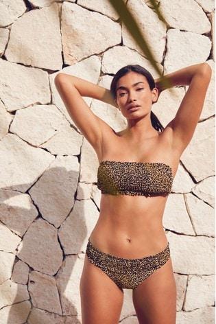 Leopard Print Shirred Bandeau Bikini Top
