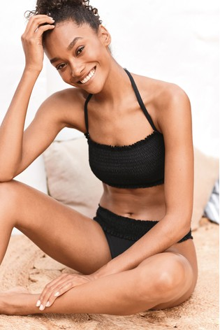 Black High Leg Briefs Shirred Swimwear