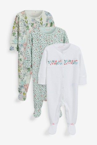 Green Floral 3 Pack Embroidered Detail Sleepsuits (0-3yrs)