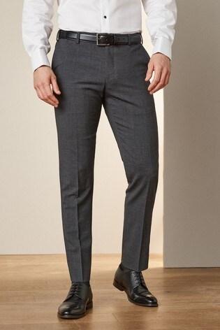 Grey Slim Fit Signature Motionflex Suit: Trousers