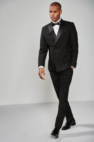 Black Double Breasted Slim Fit Tuxedo Suit: Jacket