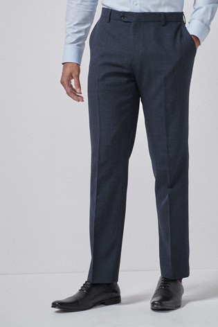 Navy/Black Regular Fit Check Suit: Trousers