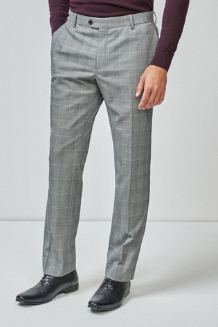 Grey Tailored Fit Check Suit: Trousers