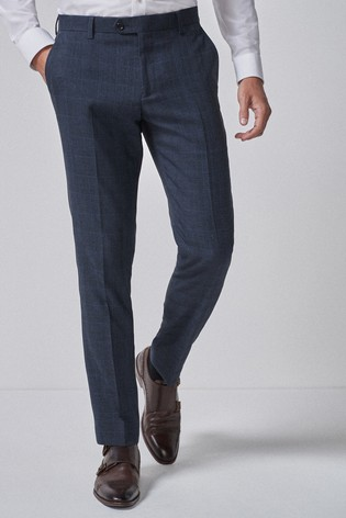 Mid Blue Slim Fit Check Suit: Trousers