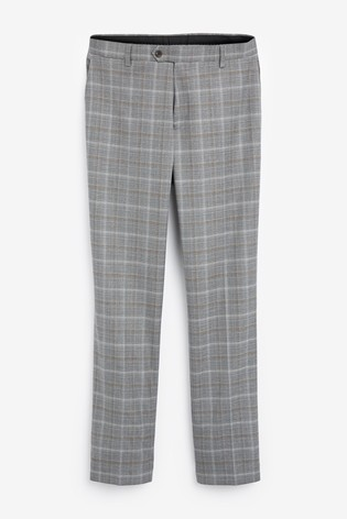 Light Grey/Tan Regular Fit Check Suit: Trousers