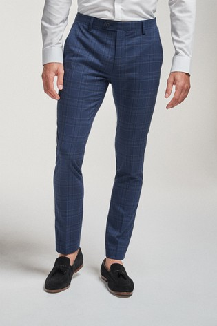 Bright Blue Super Skinny Fit Check Suit: Trousers