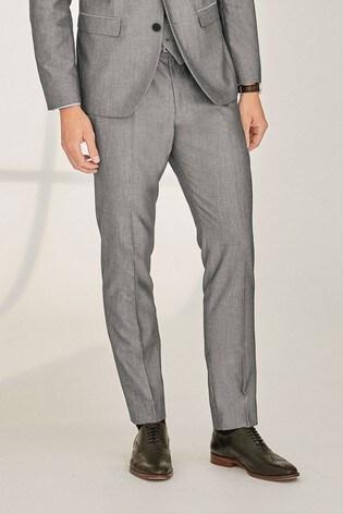 Light Grey Regular Fit Suit: Trousers