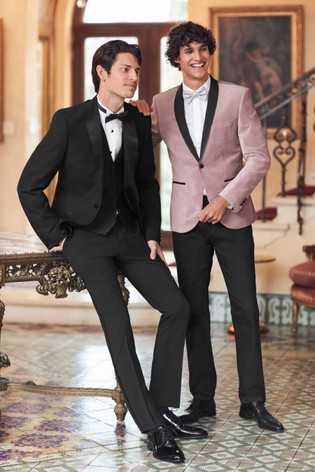NEXT Occasion Mens Red Black Patterned Slim Fit Suit Trousers New 34 Long Leg