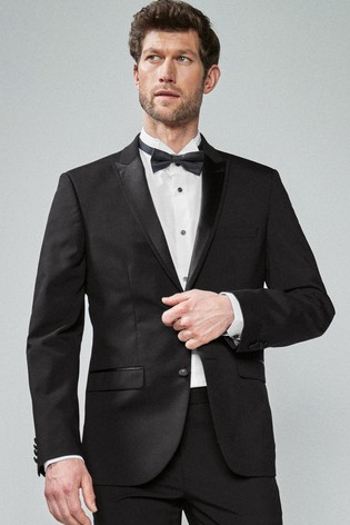 Black Tailored Fit Tuxedo Suit: Jacket