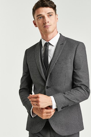 Grey Skinny Fit Textured Suit: Jacket