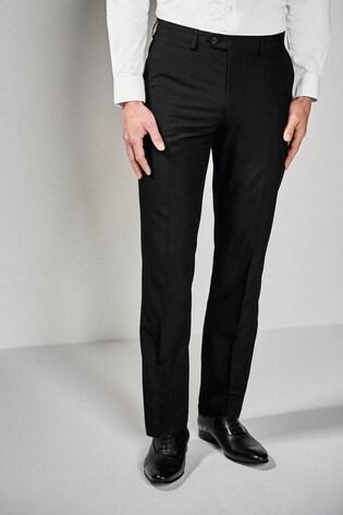 Black Regular Fit Suit: Trousers
