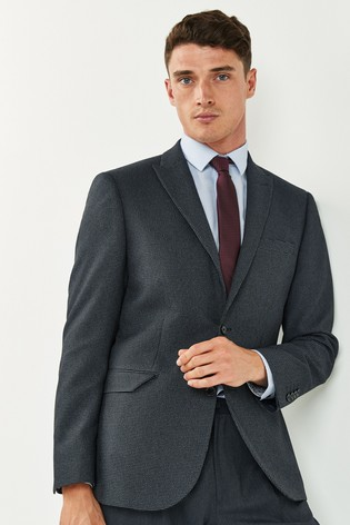 Navy Tailored Fit Textured Suit: Jacket