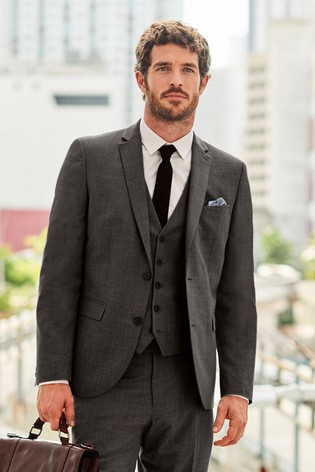 Charcoal Tailored Fit Wool Mix Textured Suit: Jacket